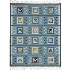 Blue Swedish Flat-Woven Rug by Edna Martin