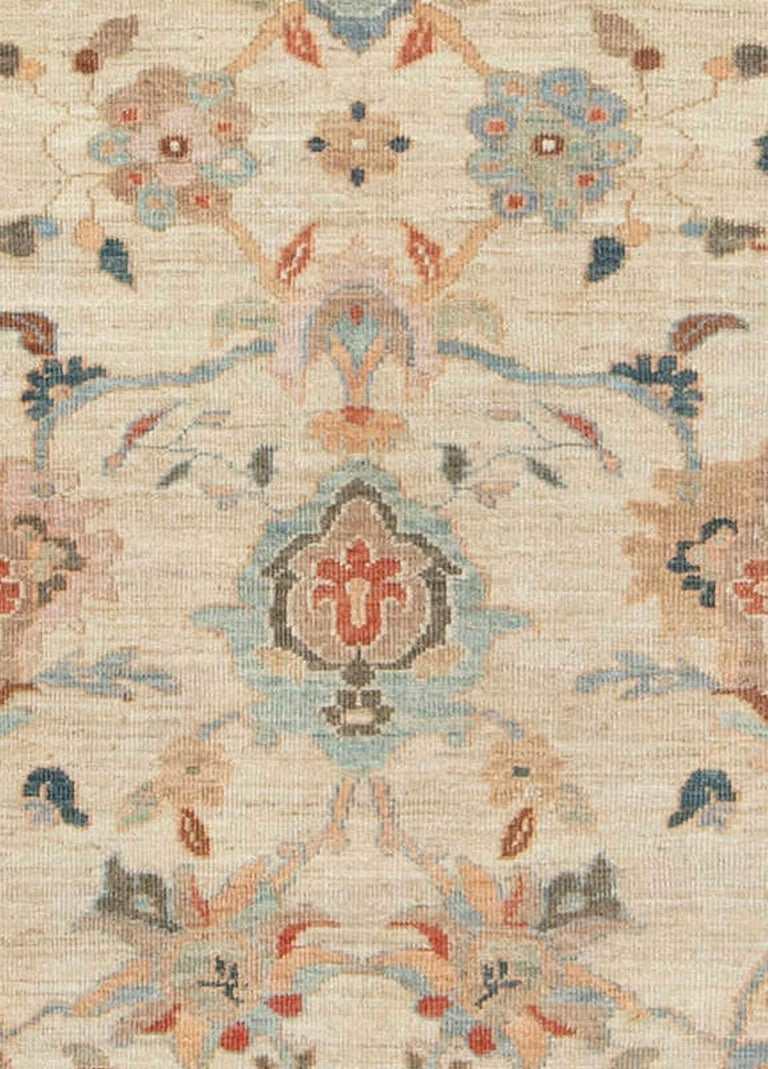 Traditional Sultanabad Design Beige, Blue, Brown, Green & Red Rug Size: 8'10