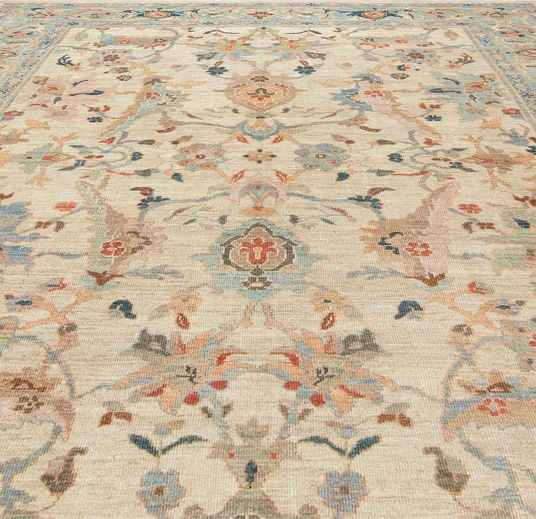 Pakistani Traditional Sultanabad Design Beige, Blue, Brown, Green & Red Rug For Sale