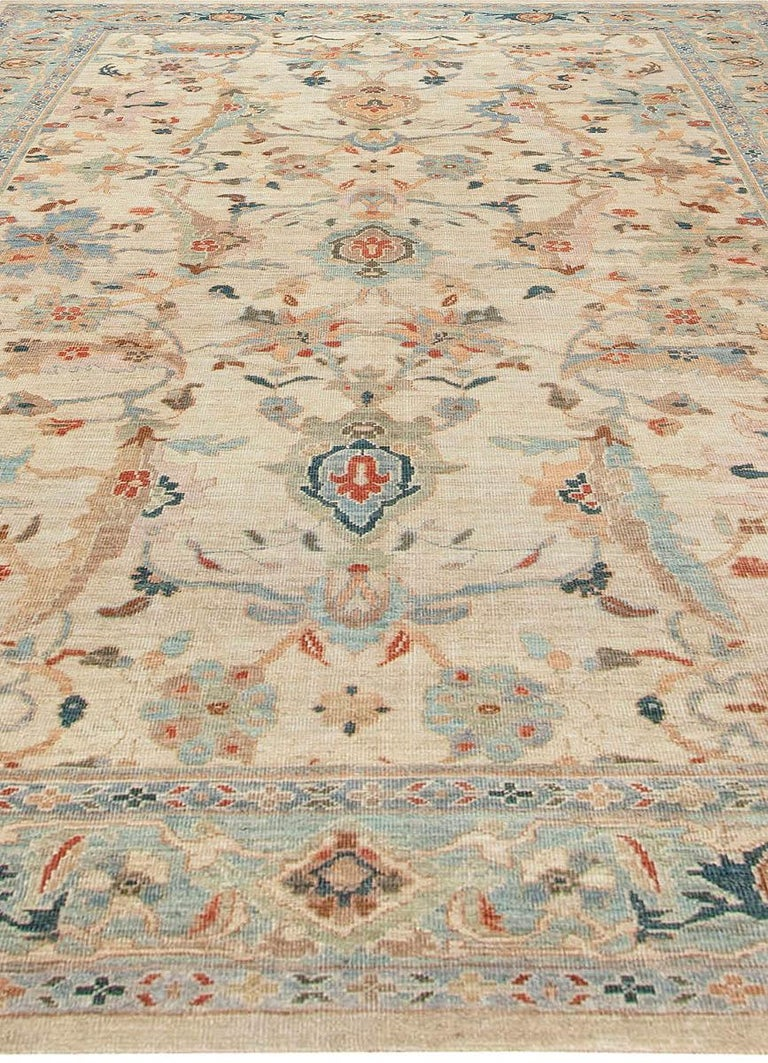 Hand-Knotted Traditional Sultanabad Design Beige, Blue, Brown, Green & Red Rug For Sale