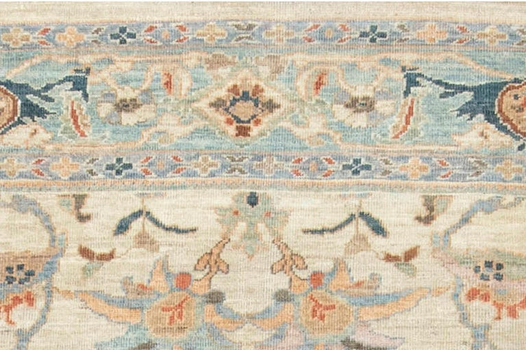 Contemporary Traditional Sultanabad Design Beige, Blue, Brown, Green & Red Rug For Sale