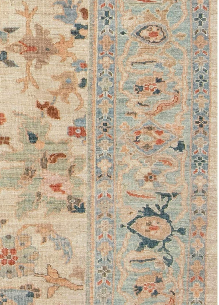 Wool Traditional Sultanabad Design Beige, Blue, Brown, Green & Red Rug For Sale