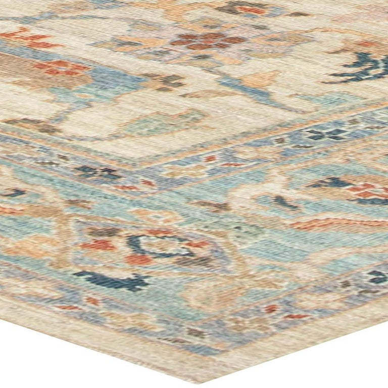 Traditional Sultanabad Design Beige, Blue, Brown, Green & Red Rug For Sale 1