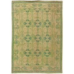 Green Vintage Spanish Savonnerie Rug