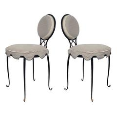 Rene Drouet Attributed Pair of Wrought Iron Upholstered Chairs