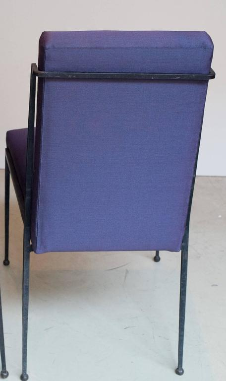 French Deco Iron Dining Chairs with Purple Silk Fabric Newly Upholstered 2
