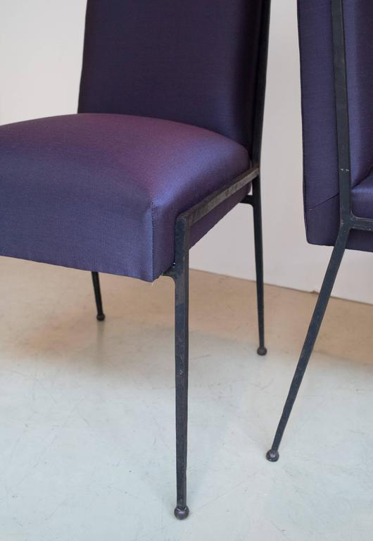 French Deco Iron Dining Chairs with Purple Silk Fabric Newly Upholstered 4