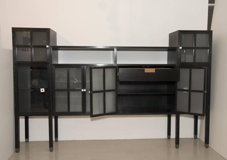 """Leon Rosen for Pace Collection """"Piombo"""" Cerused Wood and Glass Cabinet 4"""
