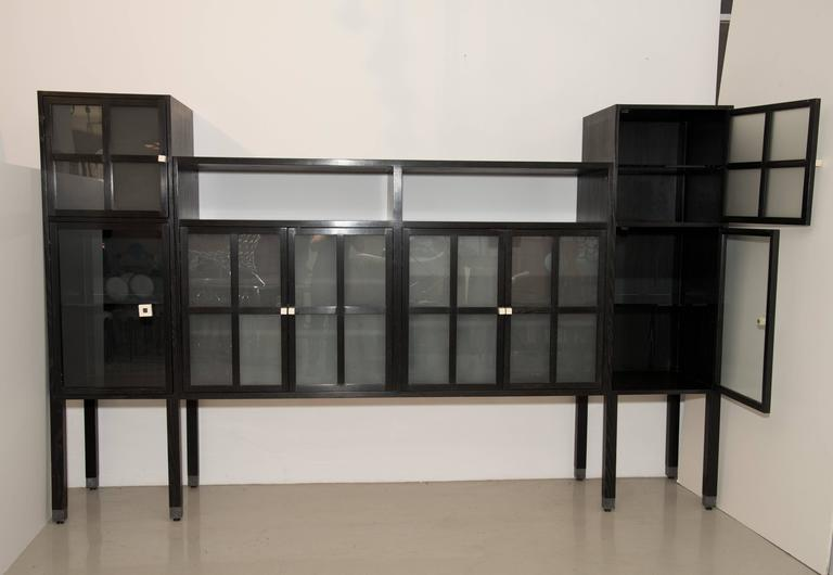 """Leon Rosen for Pace Collection """"Piombo"""" Cerused Wood and Glass Cabinet 5"""