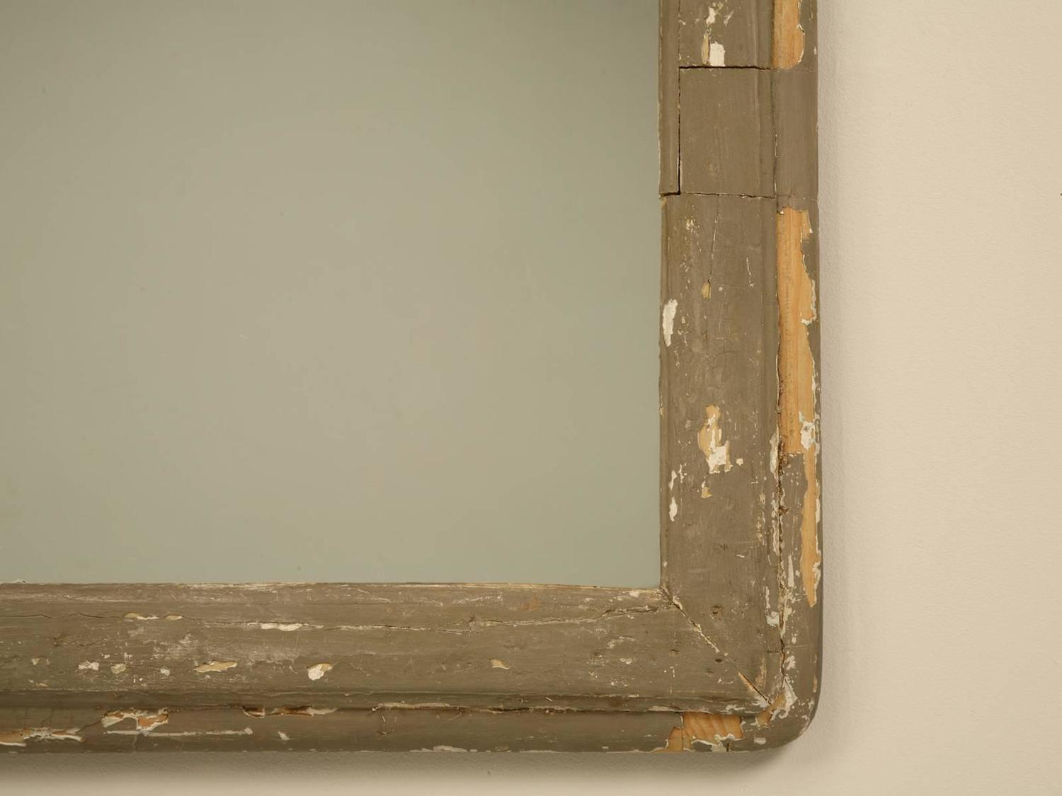 Antique french mirror in old painted frame for sale at 1stdibs for Vintage floor length mirror