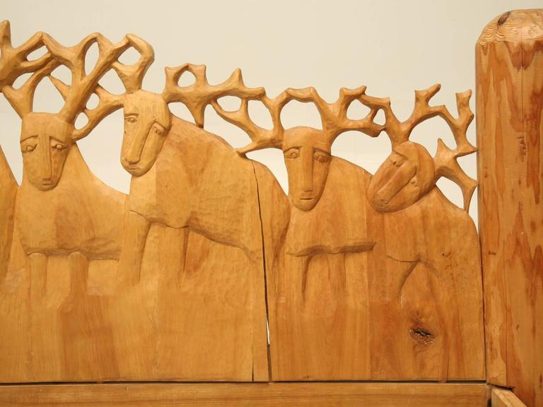 Folk Art Seven Stags Hand-Carved Bed by Jerzy Kenar For Sale