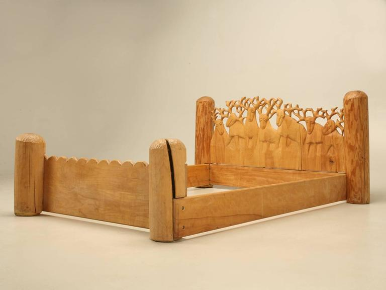 Seven Stags Hand-Carved Bed by Jerzy Kenar For Sale 4