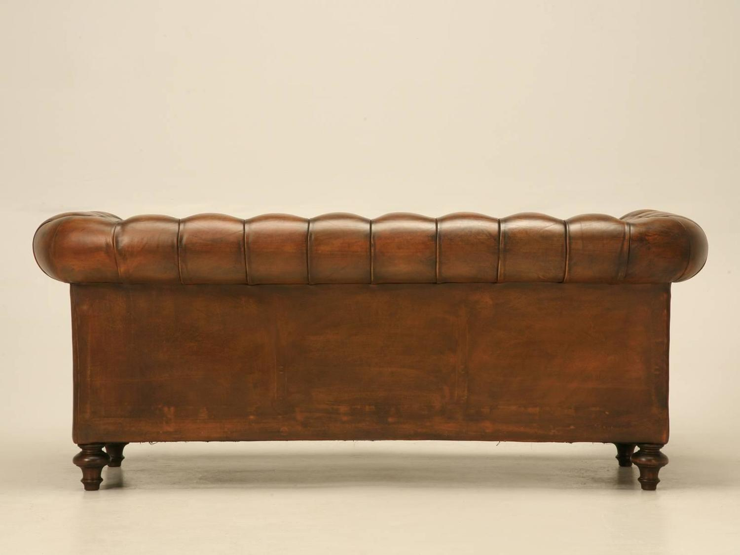 English Leather Chesterfield Sofa at 1stdibs