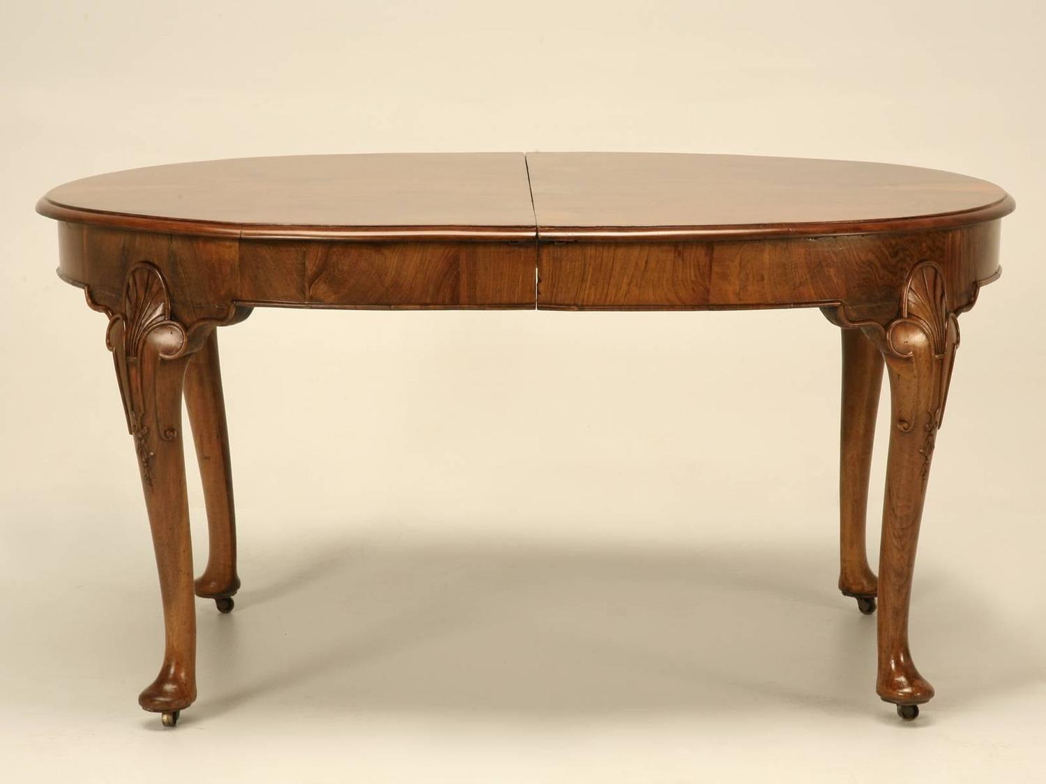 english chippendale dining table in burl walnut for sale
