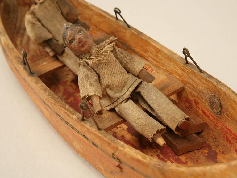 American Folk Art Carved Wooden Canoe For Sale At 1stdibs