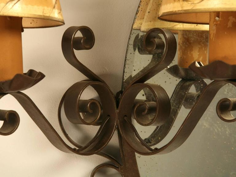 Steel French Art Deco Mirror with Built-in Sconces For Sale