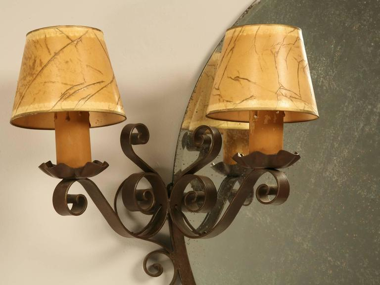Hand-Crafted French Art Deco Mirror with Built-in Sconces For Sale