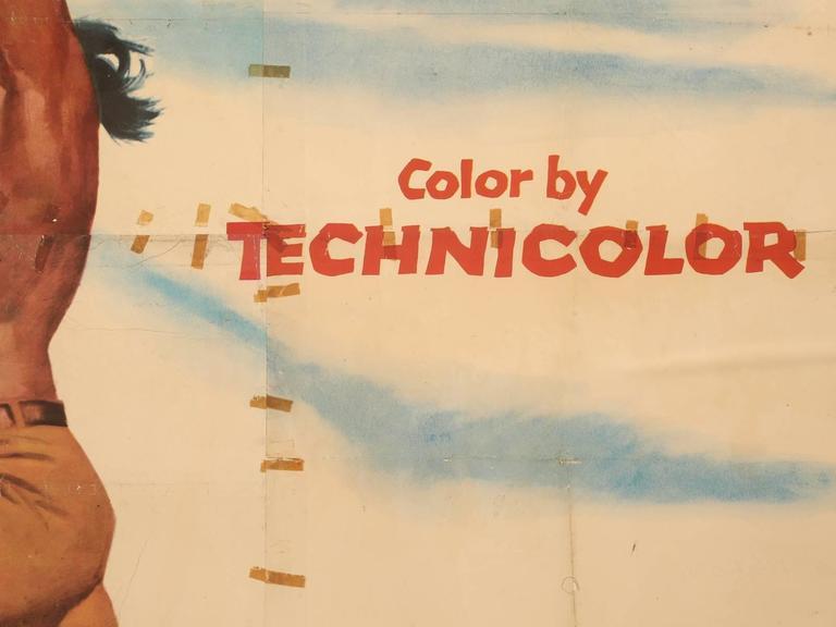 Movie Poster of Arrowhead Staring Charlton Heston, circa 1953 In Good Condition For Sale In Chicago, IL