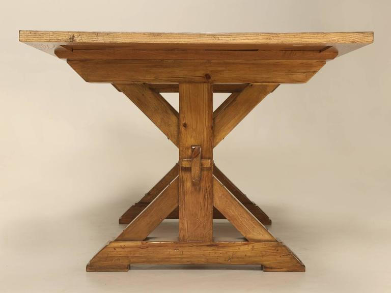 French Style Parquet Trestle Dining Table For Sale 3