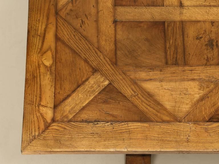 French Style Parquet Trestle Dining Table In Excellent Condition For Sale In Chicago, IL