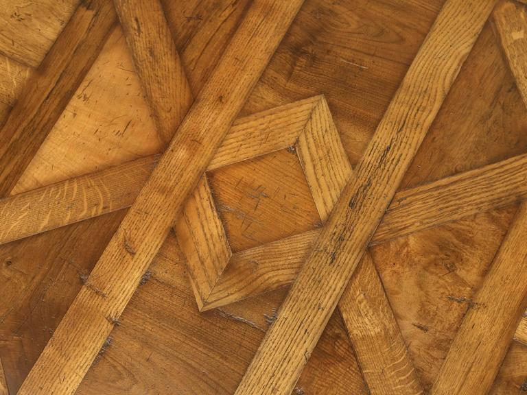 Country French Style Parquet Trestle Dining Table For Sale