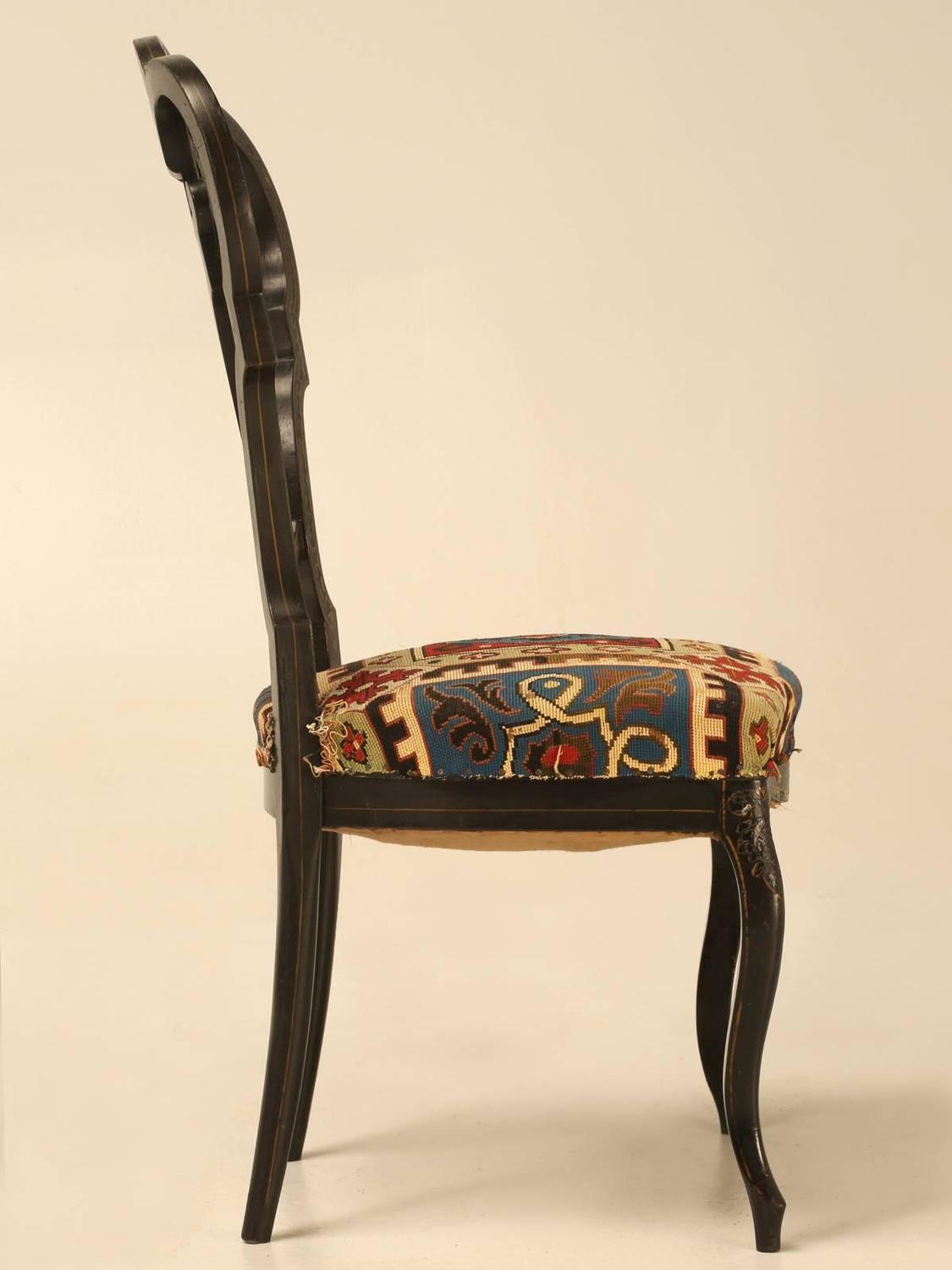 napoleon iii black lacquer parlor chair for sale at 1stdibs. Black Bedroom Furniture Sets. Home Design Ideas