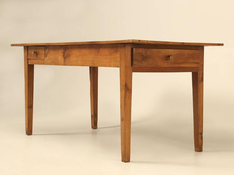 Late 19th Century Antique Country French Farm Table or Kitchen Table in Cherry Wood For Sale