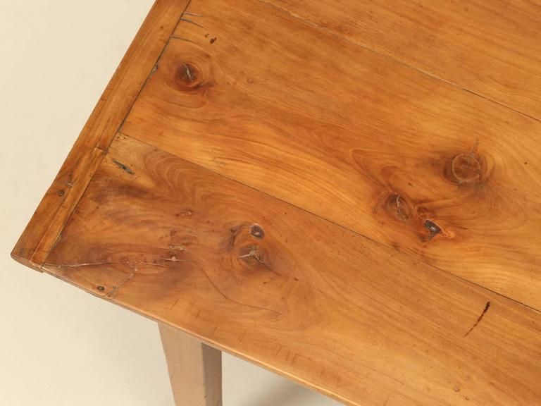 Hand-Crafted Antique Country French Farm Table or Kitchen Table in Cherry Wood For Sale