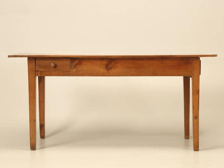 Antique Country French Farm Table or Kitchen Table in Cherry Wood For Sale 1