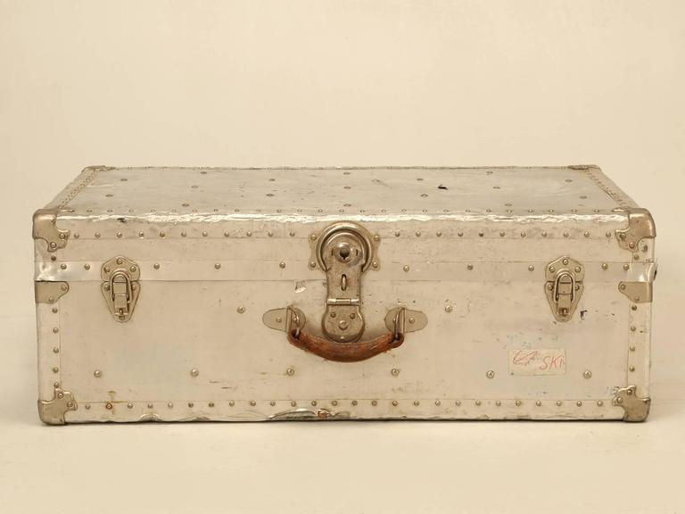 Mid-20th Century French Metal Trunk Could Be Made into a Coffee Table For Sale