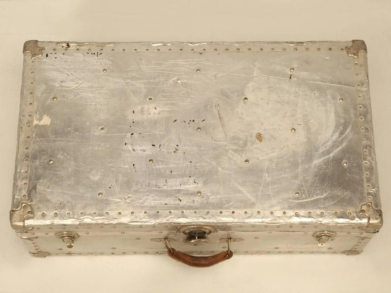 Industrial French Metal Trunk Could Be Made into a Coffee Table For Sale