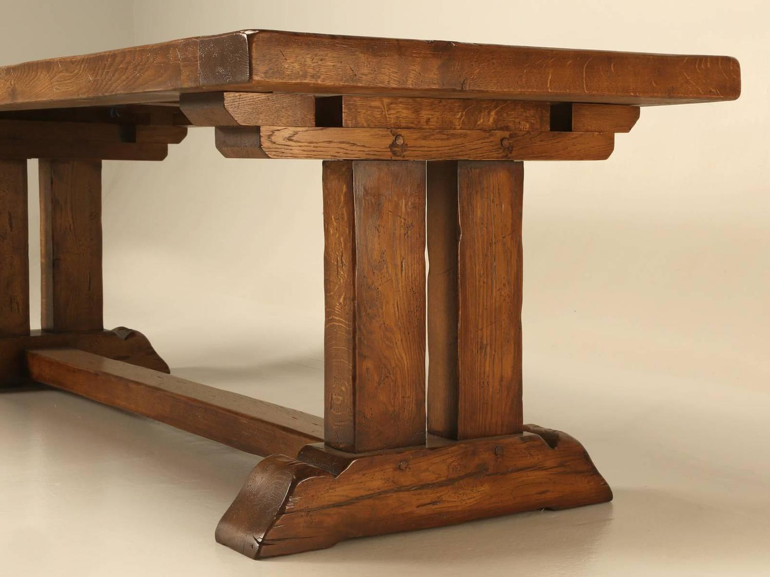 French Oak Trestle Dining Table With Two Leaves For Sale At 1stdibs. Full resolution  img, nominally Width 1500 Height 1125 pixels, img with #724121.