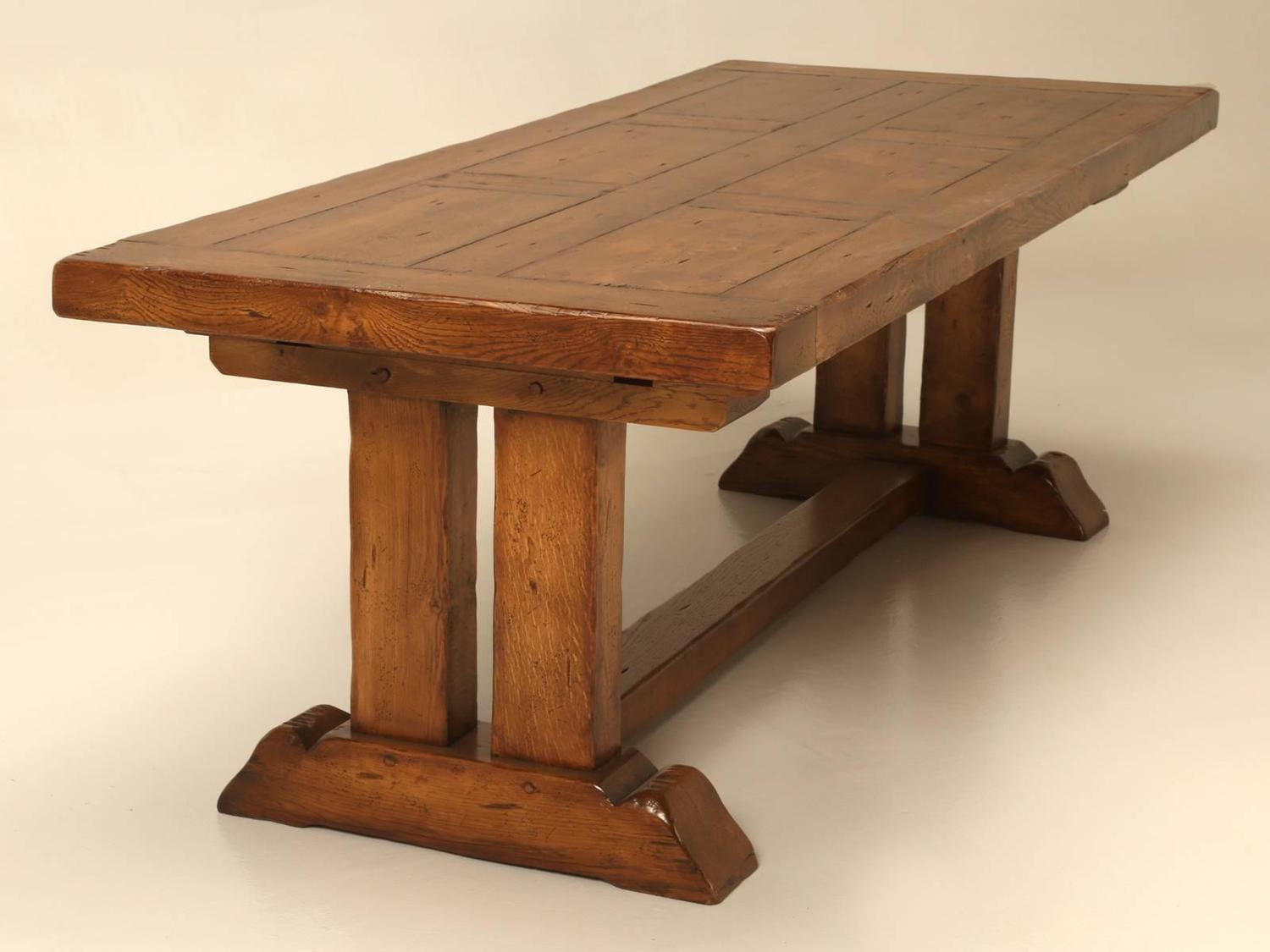 French oak trestle dining table with two leaves for sale for Most beautiful dining room tables