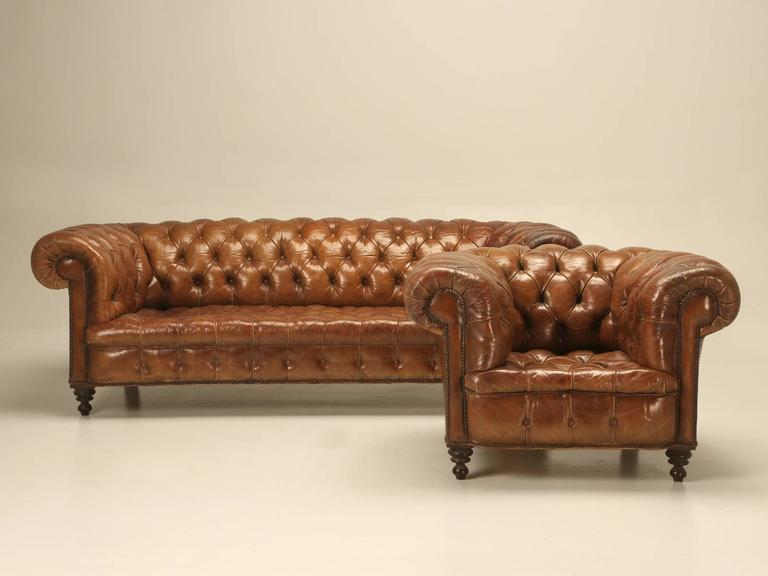 Antique Leather Chesterfield Sofa in Original Leather For