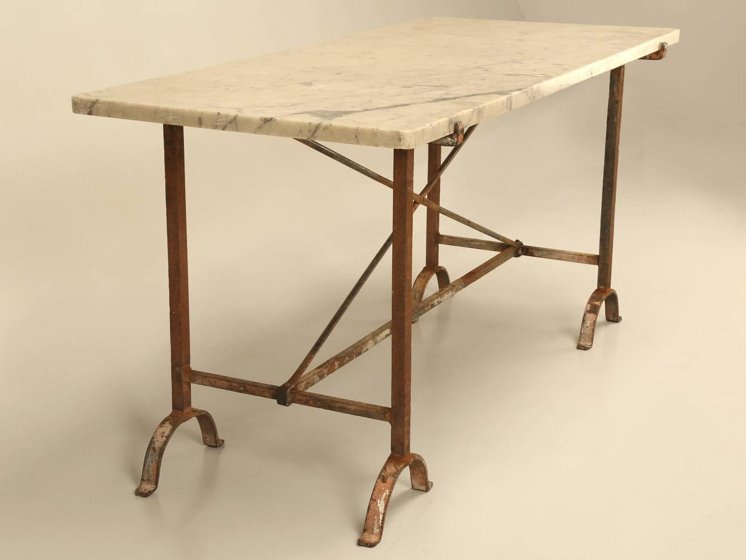 Antique French Iron And Marble Kitchen Table For Sale At