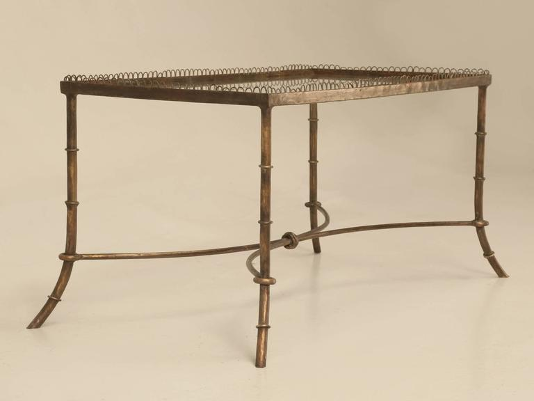 Mid Century Modern Vintage French Brass And Glass Coffee Table For Sale