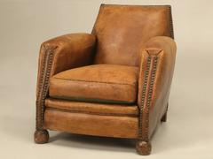 French Art Deco Leather Club Chair, Single