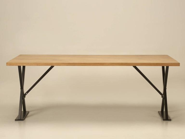 industrial inspired kitchen table from white oak