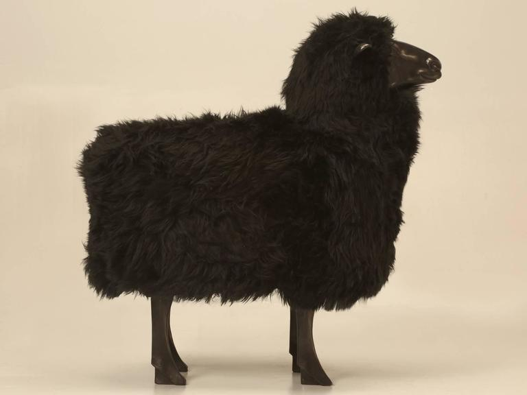 Lalanne Inspired Sheep, in Solid Bronze with Real Black Fur 3
