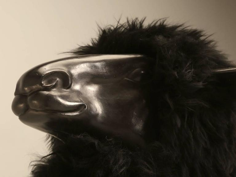 Lalanne Inspired Sheep, in Solid Bronze with Real Black Fur 8