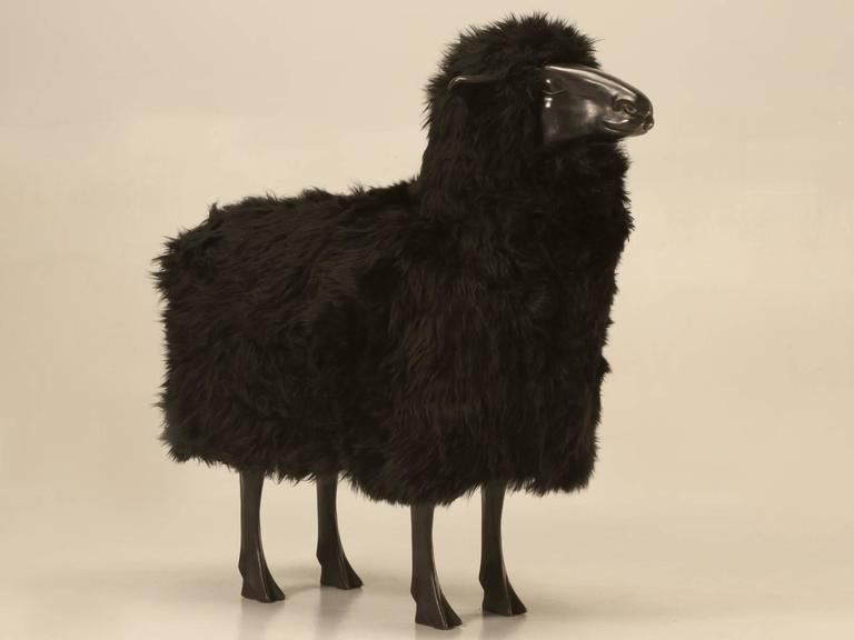 Lalanne Inspired Sheep, in Solid Bronze with Real Black Fur 2