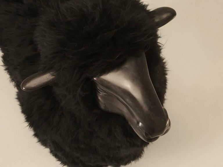 Lalanne Inspired Sheep, in Solid Bronze with Real Black Fur 5