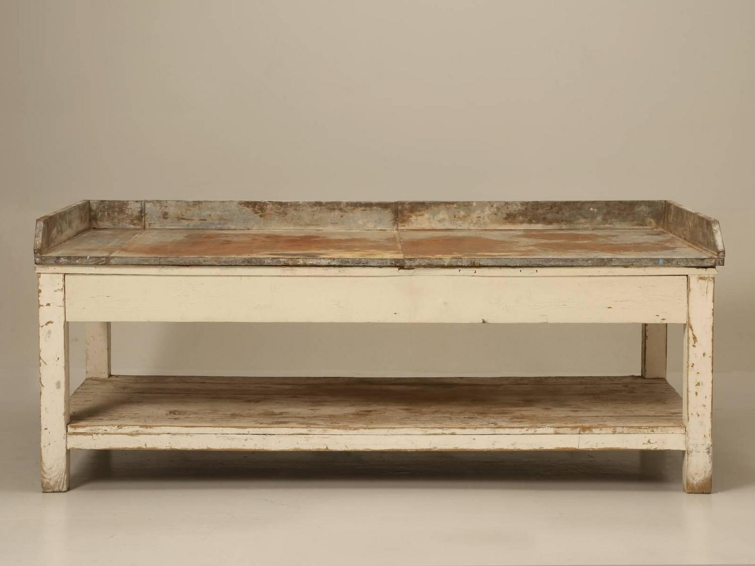 Antique American Potting Bench In Original Paint For Sale