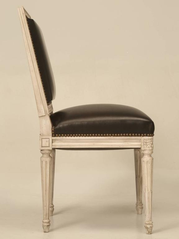 Painted French Louis XVI Style SIde Chairs, Set of Eight or More Hand-Carved For Sale 4