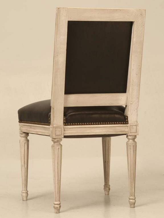 Painted French Louis XVI Style SIde Chairs, Set of Eight or More Hand-Carved For Sale 5