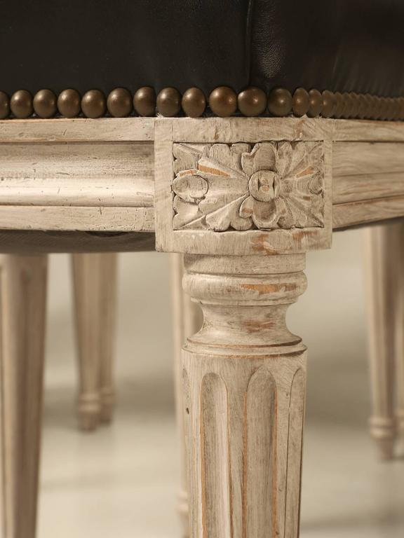 Painted French Louis XVI Style SIde Chairs, Set of Eight or More Hand-Carved For Sale 1
