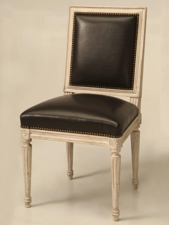 Painted French Louis XVI Style SIde Chairs, Set of Eight or More Hand-Carved For Sale 3