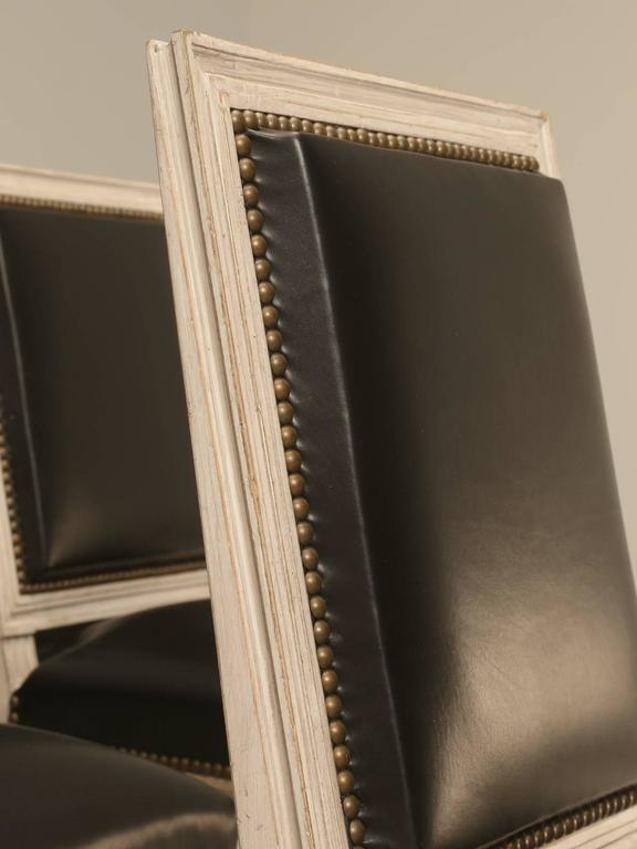 Contemporary Painted French Louis XVI Style SIde Chairs, Set of Eight or More Hand-Carved For Sale