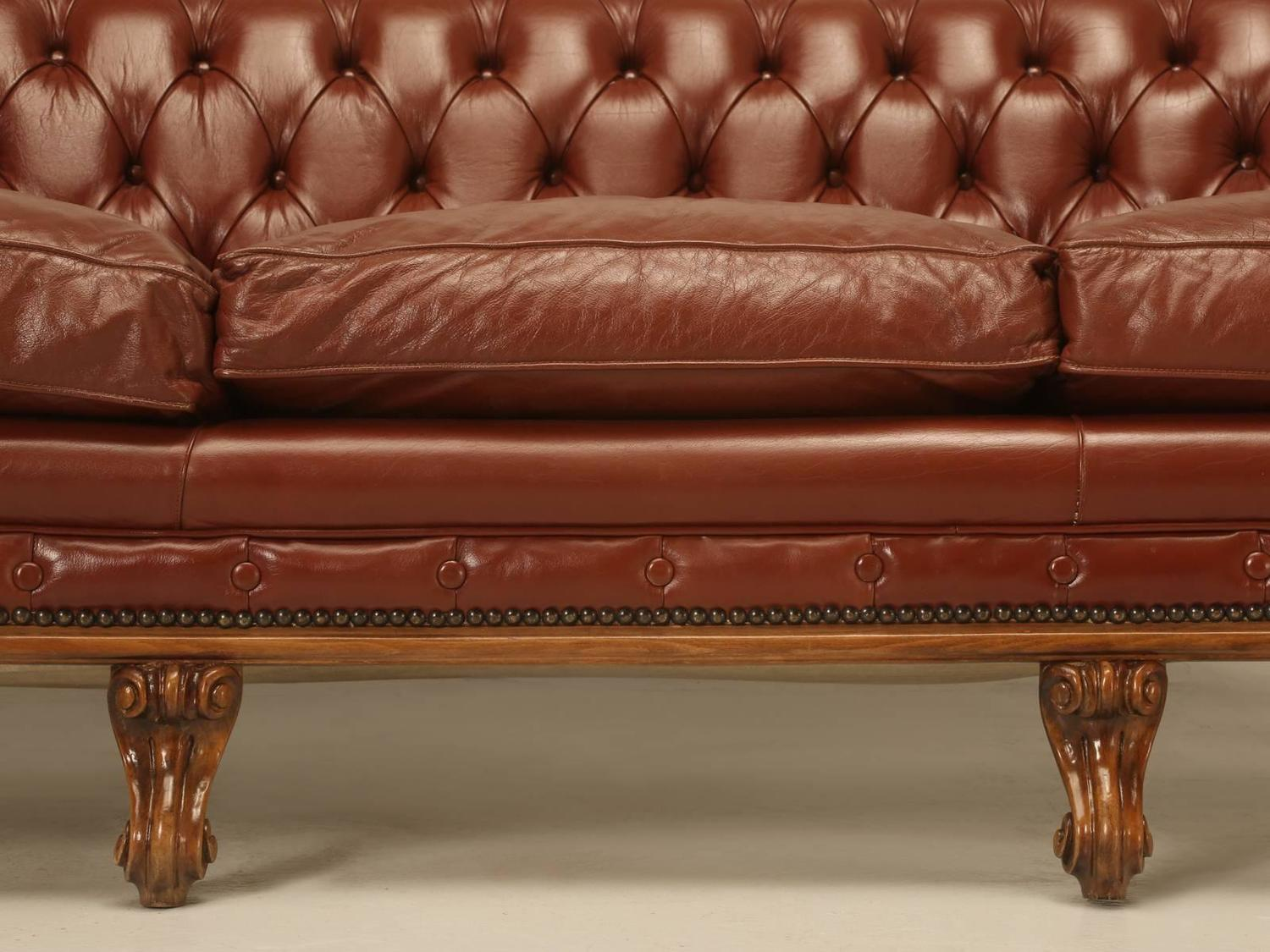 French Leather Tufted Chesterfield Style Sofa For Sale At