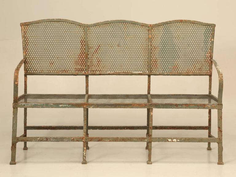 Country Antique French Original Paint Garden Bench For Sale
